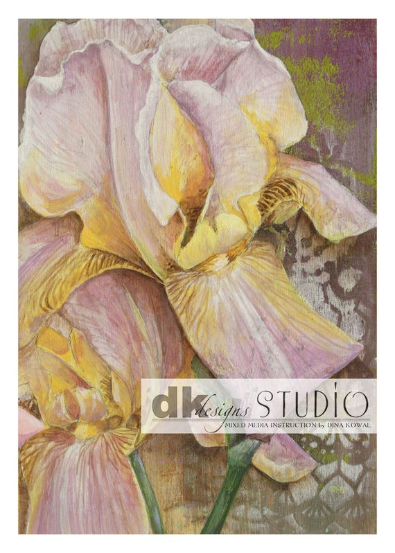 "Iris - original acrylic 5"" x 7"" on wood plaque"
