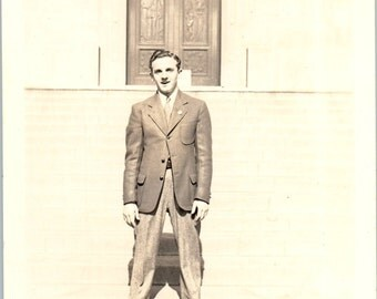 Vintage Photo - Man in a Suit - Black and White, Vernacular, Found Photo (B)