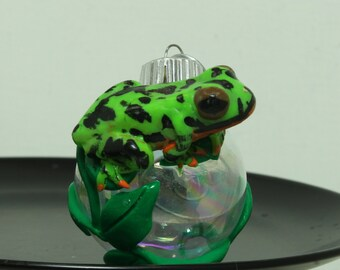 Fire Belly Toad Christmas ornament glass ball Polymer clay