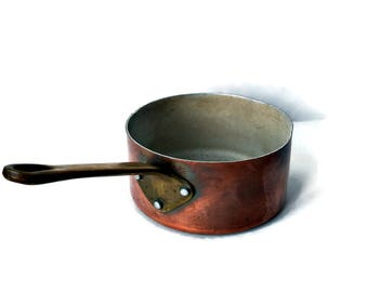 Vintage French Copper Sauce Pot/ Traditional French Copper Pot/ Country Copper and Brass Cookware/France