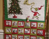 Grinch Advent Calendar, made to order, quilted, hand beaded, multi colored LED lights, heirloom advent calendar, Quiltsy  Handmade
