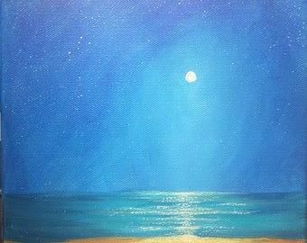 Simplicity 8 x 8 moon over the sea beach night ocean stars spiritual original painting