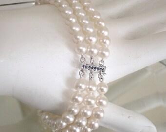 """Ashira Genuine 14k White Gold Natural Sapphire 3 Strand Akoya Pearl Bracelet 6 1/2"""" Orig. Ret. 280"""