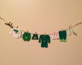 St. Patrick's Day Garland Leprechaun Banner Clothesline Laundry Bunting