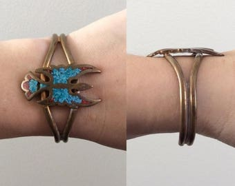 30% OFF 1970's Brass, Turquoise, & Coral Phoenix Bracelet with Patina