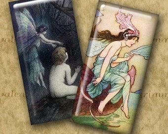 1x2 inch Digital Printable Domino Art SUPERNATURAL collage sheet for Pendants Magnets Crafts...vintage fairies + More by Warwick Goble