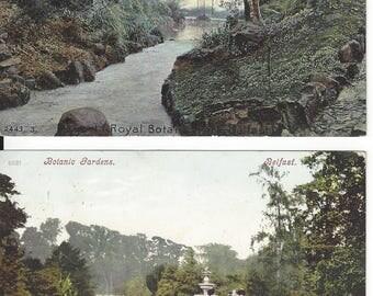 Royal BOTANIC Park BELFAST IRELAND 2 Vintage Postcards Antique Post Cards Botanic Gardens 1905 Cancels