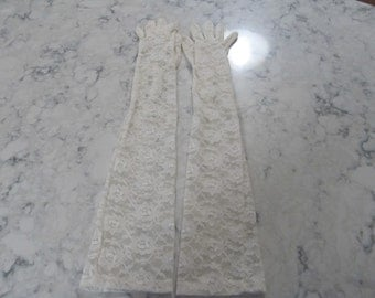 VINTAGE- Ivory White- Stretch Lace- Opera Gloves with Pearl Buttons--21 inches--Size 7--Glove auctions #100-0916