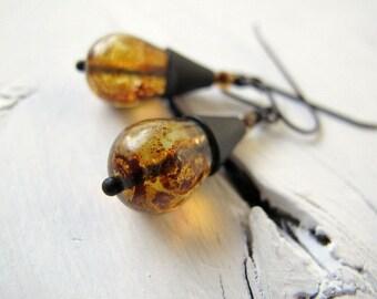 Teardrop Earrings, Bohemian Bijoux, Czech Glass Jewelry, Rustic Brown Earrings, Amber Color, Dangle Earrings, Czech Glass Earrings Tear Drop