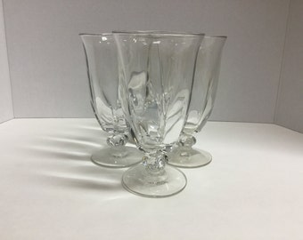 Vintage Large Water Goblets Wine Glasses Ice Tea Glasses Goblets Set of 4