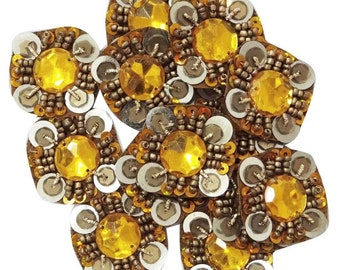 Indian Sequins Beaded Designer Appliquess Square Shape Orange Ethnic Indian Apparel Sewing Patch Decorative Beaded Appliques By 12 Pcs APS64