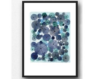 Indigo art print, Abstract watercolor painting, Abstract Painting, indigo watercolor blue watercolor painting