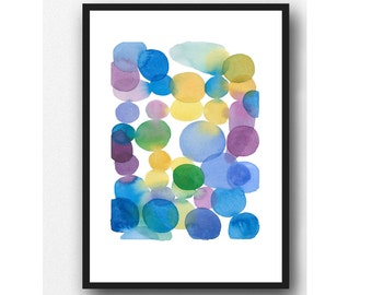 Abstract Watercolor painting, colored dots, watercolor print, Art print, wall decor, colorful painting, modern art