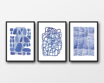 watercolor print set, Wall art set of 3 prints, watercolor paintings blue watercolor  prints, abstract art prints, nautical style