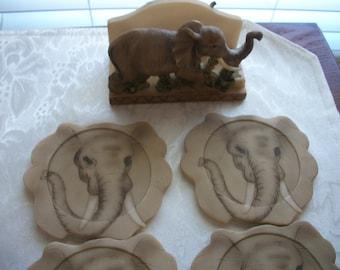 Elephant Coaster Set, Set of 4 coasters, Nana's Vintage Shop on Etsy