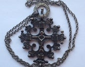 Sale  Vintage Silver Coptic Religious Pendant Large Detailed Maybe Russian Ethiopian