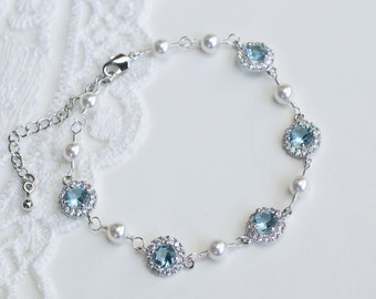 Bridal Bracelet, Aquamarine, White Cubic Zirconia and Swarovski Pearls Bridal Bracelet, CZ Pearls Wedding Jewelry, CZ Pearls Bridal Jewelry