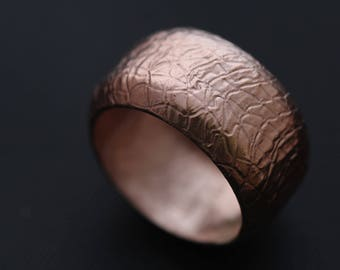 CO1010 - Copper Synclastic Ring, Textured, 7th Anniversary.