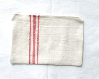 VINTAGE Grainsack Zippered Pouch - 3 Red Stripes