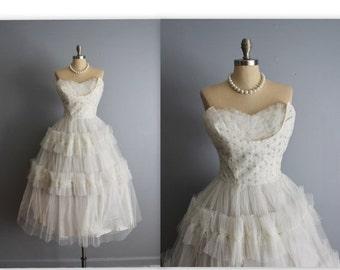 STOREWIDE SALE 50's Wedding Dress // Vintage 1950's Strapless White Tulle Wedding Dress Tea Gown