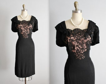 50's Cocktail Dress //  Vintage 1950's Elegant Black Illusion Lace Fitted Cocktail Party Evening Dress XL