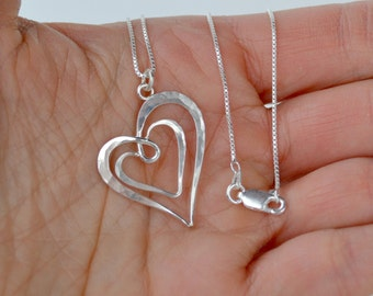 Silver Heart Pendant, Double Heart Pendant, Silver Heart Necklace, Hammered Heart Pendant, Simple Heart Pendant, Two Heart Pendant