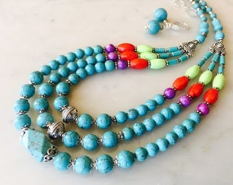 Large blue turquoise necklace silver earrings set, layered cascade, big, bold, multi strand, natural gemstones, gift idea for her