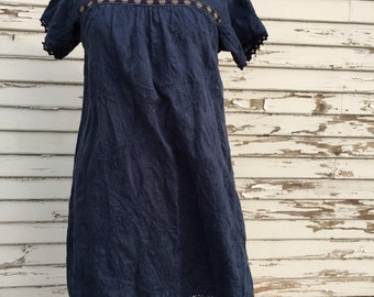 Linen Peasant Dress in Blue with Vintage Trim