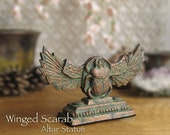 RESERVED for Sonya - Winged Scarab Altar Statue - Khepri - Ancient Egyptian Symbol of Creation & Rebirth - Handcrafted - Aged Bronze Patina