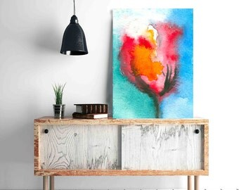 Watercolor Painting - Tulip Abstract Art Print on Canvas or Paper