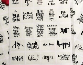 Inspirational Quotes Planner Stickers   Hand lettered Inspiring Journal Stickers   Calligraphy Planner Stickers   Chic and Monochrome