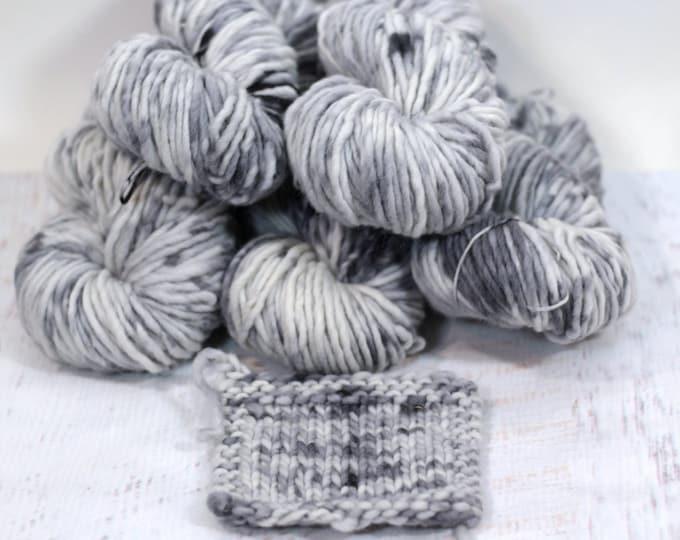 "Hand dyed yarn, Wool Alpaca Chunky ""Spotted Seal II"", grey, cream, black"