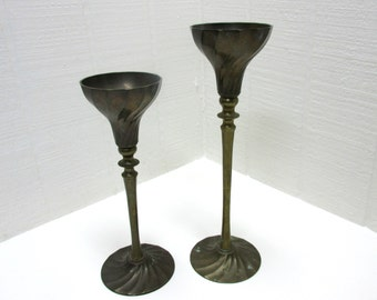 Vintage Brass Candlesticks Lot Of 2 Graduated Size Candle Holders