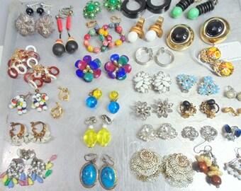 OLD JEWELRY LOT. 31 pr. Earrings. Jewelry. destash. Earring. Lot. Craft. Little Girls. DressUp. Vintage. Earrings Galore. Costume Jewelry