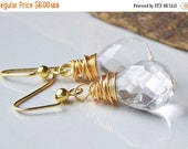 MARCH MADNESS SALE 50% Off Etsy, Etsy Jewelry, Clear Briolettes, Briolette Earrings, Clear Quartz Briolettes and Gold, Wire Wrapped Earrings