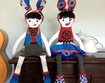 Rupert and Raine RabbitRascal -  Rag Doll  in Scandi Nordic  Red, White and Blue Vintage Fabrics , a Forest Friend by Witty Dawn