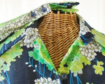 Sheer Nylon Blouse Long Sleeve French Cuff by Teddi of California Unworn