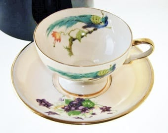 Parrot Footed Teacup and Saucer Leneige Bone China