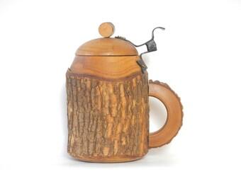 Vintage Handmade Wooden Tree Bark Mug/Stein/Folk Mug