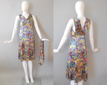 1930s Floral Two Piece / Deco Floral Dress / 30s