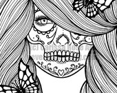 SALE Digital Download Print Your Own Coloring Book Outline Page - Day of the Dead Girl With Butterflies by Carissa Rose