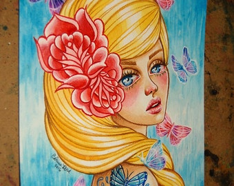 ORIGINAL Painting - Beautiful Colorful Pin Up Girl - Butterfly Blonde by Carissa Rose - 8 x 10 inches
