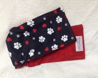 Male Dog Belly Band Diaper Britches Pet Doggie Wrap Pants Hearts Paw Prints On 100% Cotton Flannel Fabric  Custom Sizes To 30 Inches