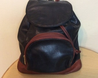 Vintage 1980s Leather Backpack in Brown and Black, High Quality Leather- Medium to Large size