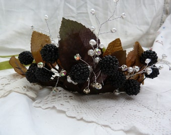 Blackberry queen autumn fairy crown - jewels, pearls, sparkly tiara - mabon