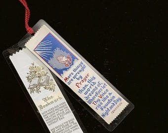 Pair of Vintage Ribbon Woven Bookmarks Inspirational Poems Tennyson and Martin Buxbaum