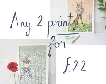 Any 2 prints for 22 pounds. Special offer.