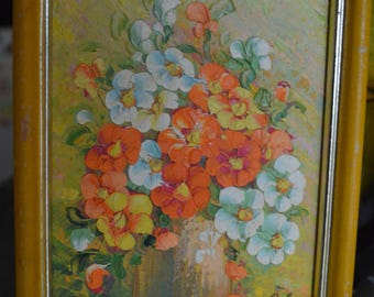 Original Framed Oil Painting on Wood, Orange, Yellow, White Flowers in Vase