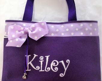 Easter Small Tote Free Personalization Ribbon Trim and Bunny Charm