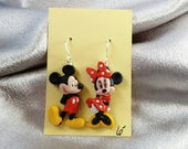 Earrings made with Mickey Mouse and Minnie Mouse figures brockus creations earrings